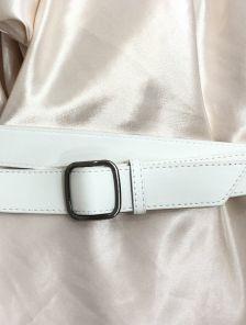 Белый женский пояс шириной 3 см универсальный