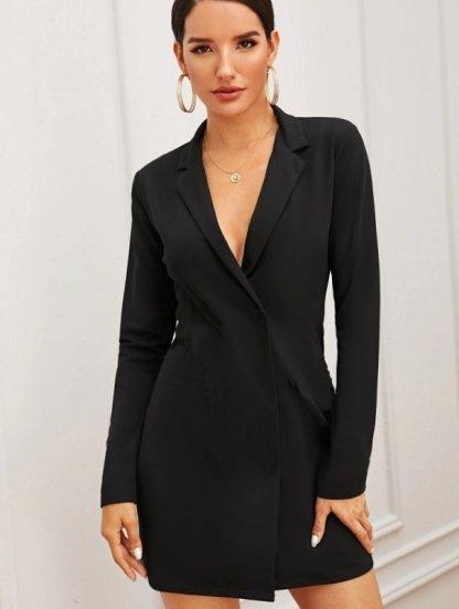 Стильное черное короткое платье пиджак на длинный рукав, фото 1