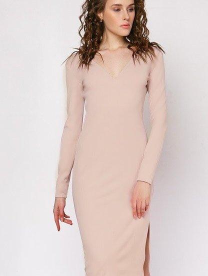 Бежевое теплое ангоровое платье, фото 1