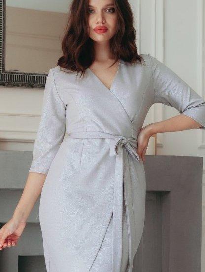 Вечернее серебристое коктейльное платье с имитацией запаха, фото 1