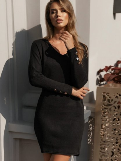 Чорное теплое ангоровое короткое платье, фото 1