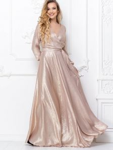 Блестящее длинное вечернее платье в нежно розовом цвете