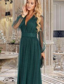 Нарядное мерцающее зеленое платье макси на длинный рукав