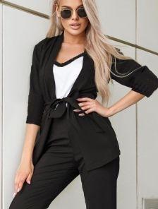 Летний стильный черный костюм тройка с брюками