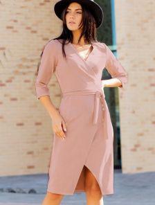 Замшевое пудровое платье с имитацией запаха