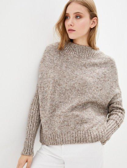 Бежевый теплый объемный свитер с люрексом, фото 1