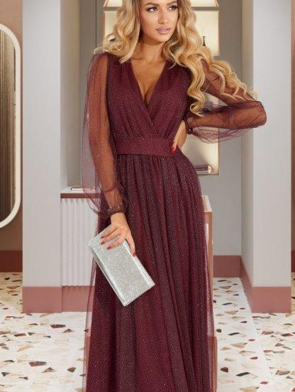Нарядное мерцающее бордовое платье макси на длинный рукав, фото 1