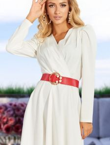 Нарядное короткое белое короткое вечернее платье