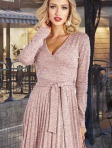 Розовое теплое короткое платье из ангоры на запах с юбкой плиссе