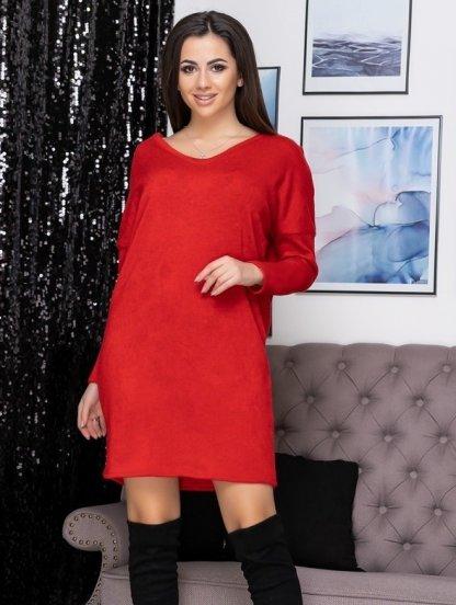 Красное теплое ангоровое короткое платье, фото 1