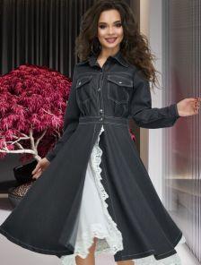 Стильное черное джинсовое платье рубашка с кружевом