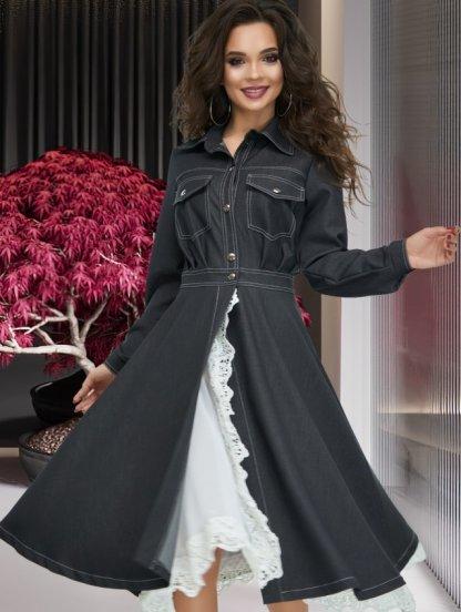 Стильное черное джинсовое платье рубашка с кружевом, фото 1