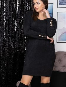 Чорное теплое ангоровое короткое платье