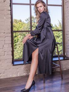 Шелковое черное нарядное платье макси с разрезом на длинный рукав