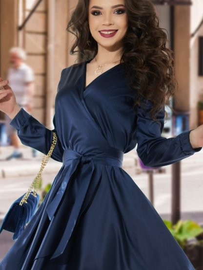 Нарядное шелковое синее платье на запах с рукавом, фото 1