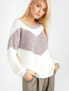 Женский теплый светлый свитер без горловины с полоской