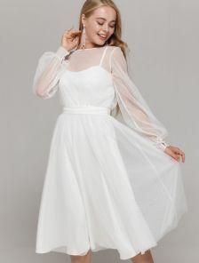 Белое нарядное платье миди со съемной сеткой на роспись и свадьбу