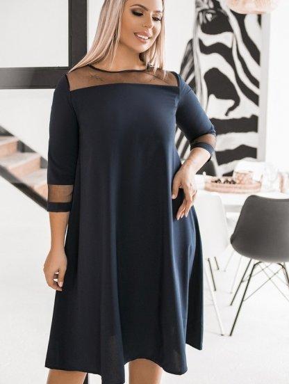 Черное короткое платье трапеция большого размера на рукав 3/4, фото 1