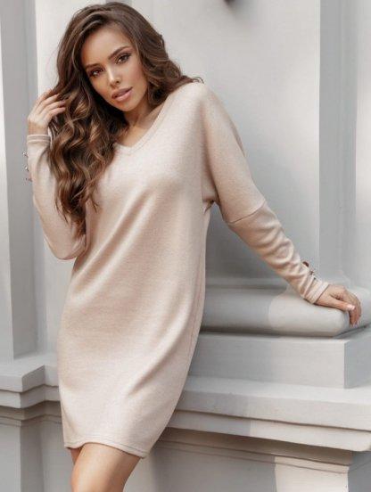 Бежевое теплое ангоровое короткое платье, фото 1
