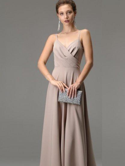 Бежевое длинное платье на бретелях с вырезом на спине, фото 1