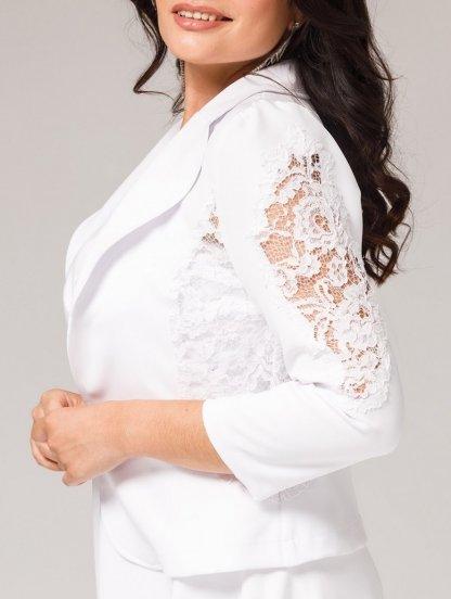 Нарядный белый женский жакет с кружевом на роспись и свадьбу, фото 1