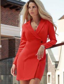 Стильное короткое красное платье пиджак на длинный рукав