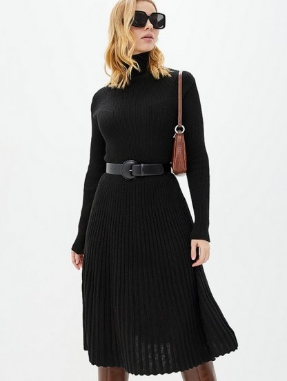 Вязаное черное теплое платье с плиссированной юбкой на длинный рукав, фото 1