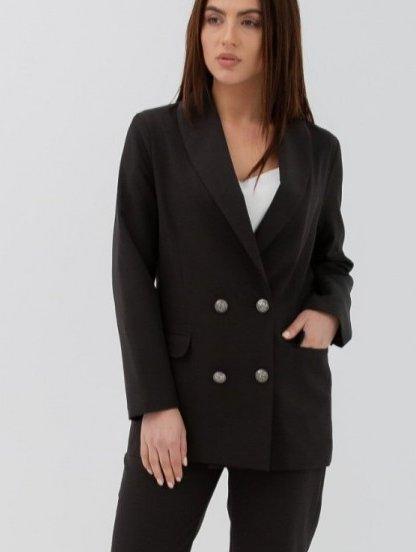 Черный классический женский брючный костюм двойка с пиджаком, фото 1