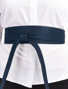 Эффектный синий широкий пояс завязка на талию