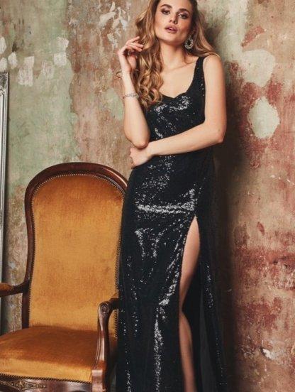 Блестящее длинное платье с пайетками, фото 1