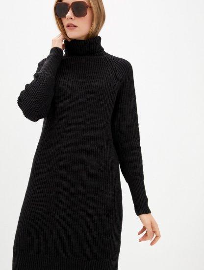 Вязаное черное теплое платье на длинный рукав с горловиной, фото 1