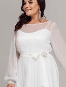 Белое мерцающее платье со съемным верхом для первого свидания