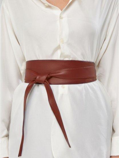 Эффектный коричневый широкий пояс завязка на талию, фото 1