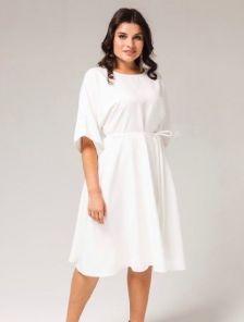 Белое нарядное платье миди на рукав 3/4 на роспись