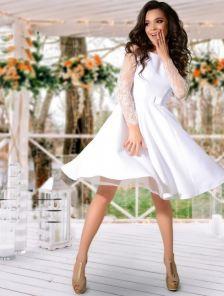 Нарядное коктейльное белое платье миди длины