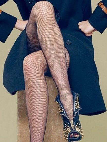Черные женские колготки в сетку на резинке, фото 1