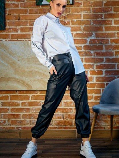 Черные облегающие женские кожаные брюки с высокой талией, фото 1