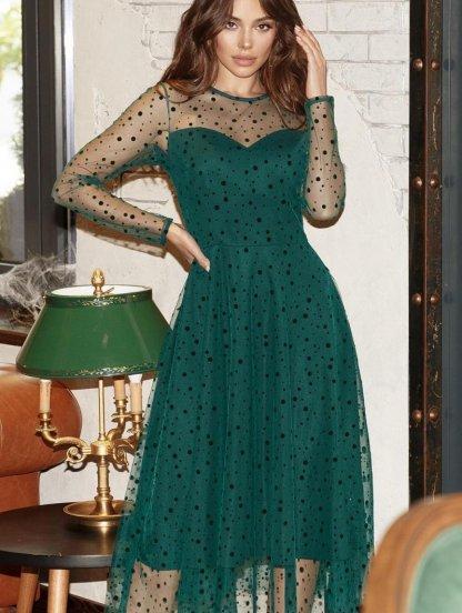Зеленое нарядное платье в горошек с прозрачным рукавом, фото 1