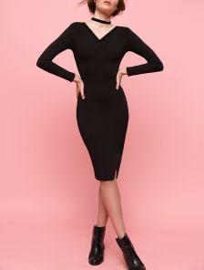 Чорное теплое ангоровое платье