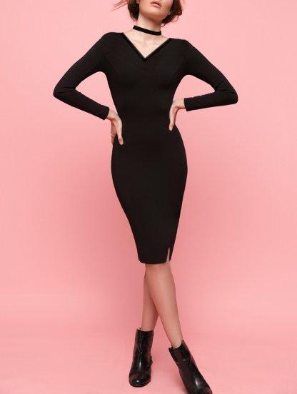 Чорное теплое ангоровое платье, фото 1