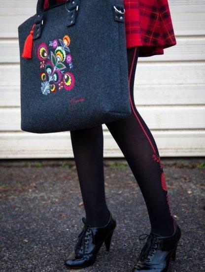 Стилизованные черные колготки с красным узором на 40 ден, фото 1
