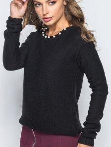 Теплый черный пуловер без горла