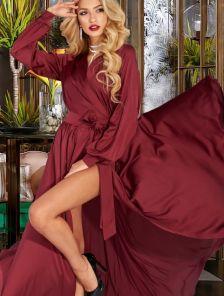 Бордовое вечернее длинное палатье на запах с длинным рукавом