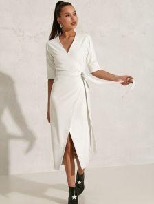 Нарядное белое платье миди длины