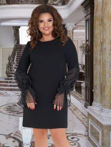 Нарядное черное платье с двухслойными шифоновыми рукавами