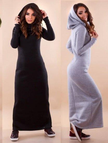 Черное длинное платье с капюшоном на зиму, фото 1