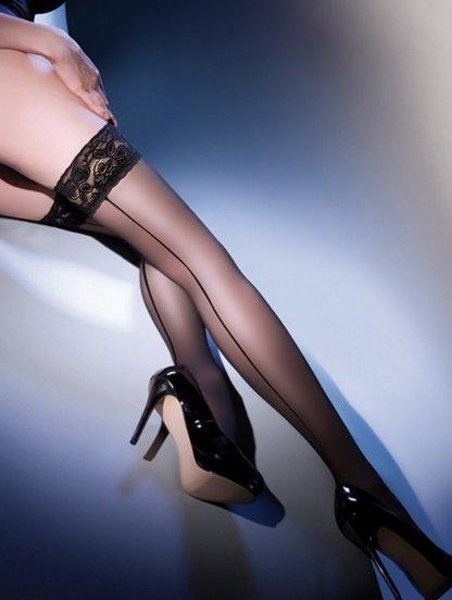 Сексуальные чулки на силиконе cо стрелкой на 20 ден, фото 1