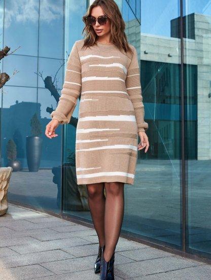 Теплое вязанное платье с рукавом бежевого цвета, фото 1