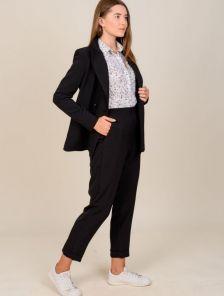Черный классический женский брючный костюм двойка с пиджаком
