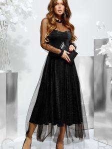 Нарядное длинное черное блестящее платье с сеткой